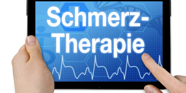 """Auf einem Bildschirm wird das Wort """"Schmerztherapie"""" angezeigt."""