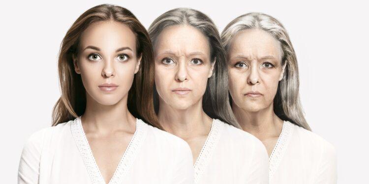 Eine Frau im jungen, mittleren und fortgeschrittenen Alter.