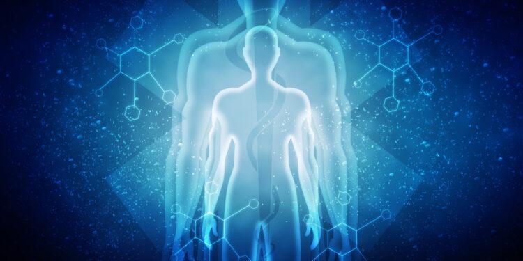 Grafik von drei Körperumrissen aus weißem Licht vor blauem Hintergrund