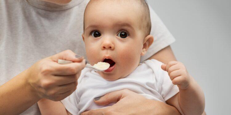 Mutter füttert ihr Baby mit einem Löffel Babybrei