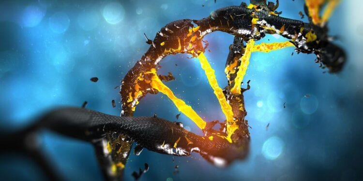 Eine grafische Darstellung eines geschädigten DNA-Strangs.