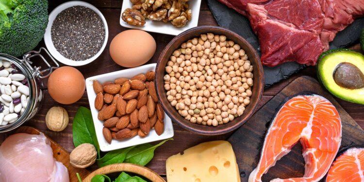 Eine Auswahl an proteinreichen Lebensmitteln.