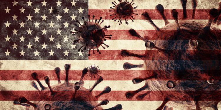 Eine grafische Darstellung von Coronaviren vor einer US-amerikanischen Flagge.
