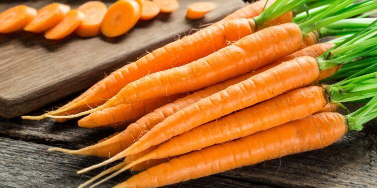 Frische Karotten auf einem Holztisch