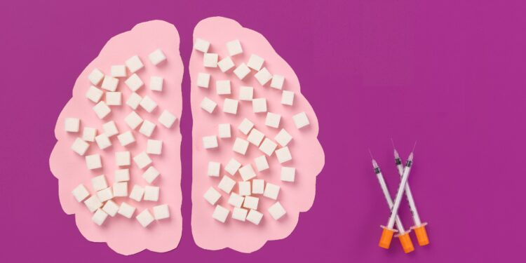 Grafische Darstellung einer Silhouette eines Gehirns und Insulin-Spritzen.