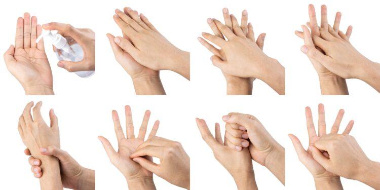 Eine Anleitung zum richtigen Desinfizieren der Hände.