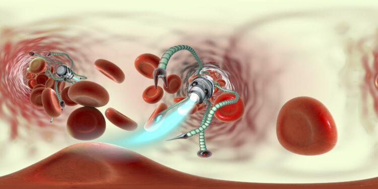 Darstellung Mikroroboter und Blutplättchen im Körperinneren.