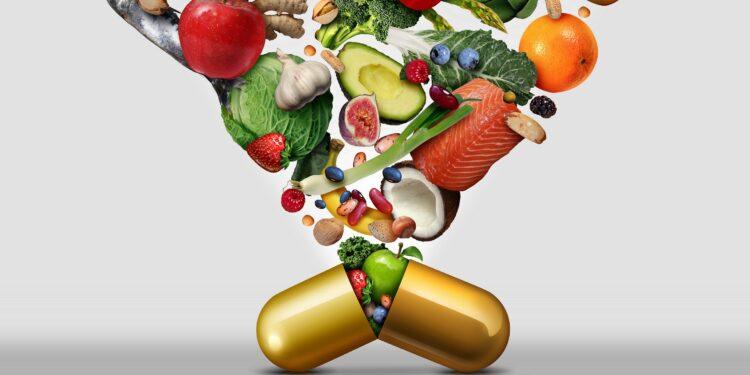 Eine Vielzahl gesunder Lebensmittel wird in einer goldenen Kapsel zusammengefasst