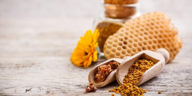 Bienen-Pollen und Propolis auf einem Holztisch