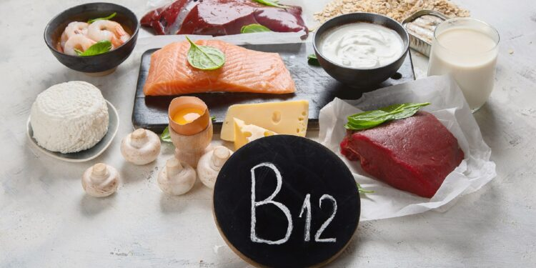 Eine Auswahl an Lebensmitteln, die reich an Vitamin B-12 sind.