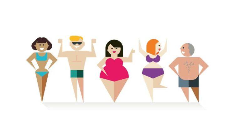 Eine grafische Darstellung verschiedener Personen mit unterschiedlichen Körperproportionen.