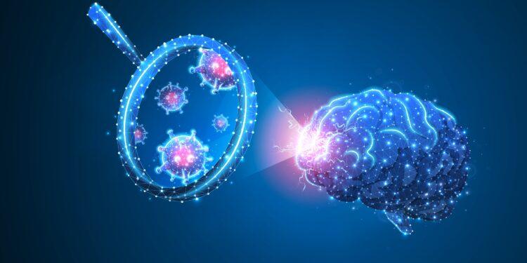 Eine grafische Darstellung eines Gehirn, das von Viren befallen ist.
