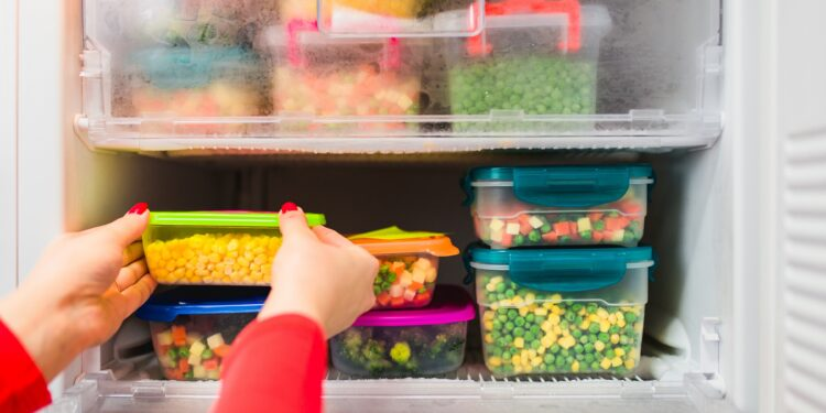 Frau packt Behälter mit verschiedenem Gemüse in den Gefrierschrank