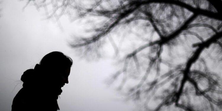 Die Silhouette einer Person in einer grauen Winterlandschaft.