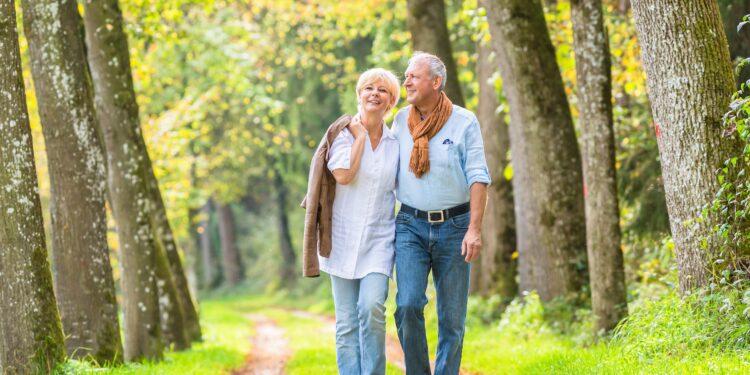 Älteres Parr geht im Wald spazieren.