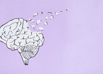 Eine Zeichnung eines Gehirns, welches langsam zerfällt.