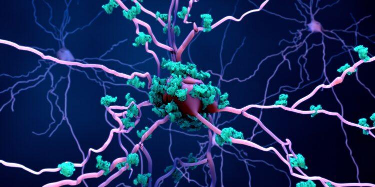 Darstellung von Neuronen mit Tau-Protein-Ablagerungen.