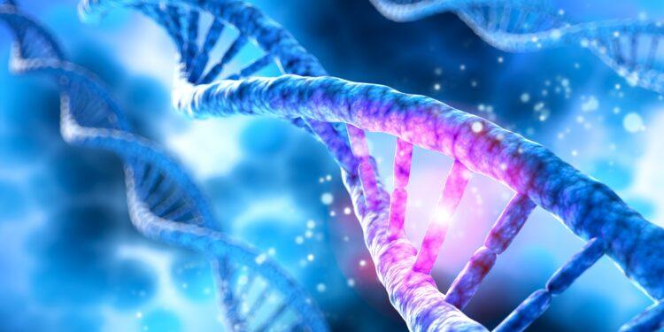 Eine grafische Darstellung eines DNA-Strangs.