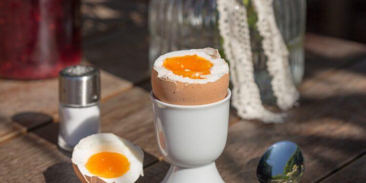 Ein Frühstücksei in einem Eierbecher sowie ein Löffel und ein Salzstreuer auf einem Tisch