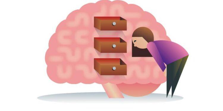 Comichafte Darstellung einer Frau, die in einem Gehirn nach etwas sucht.