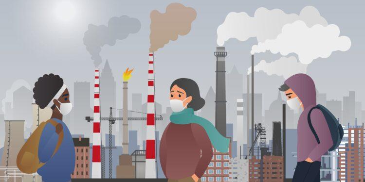 Zeichnung von drei Personen mit Mundschutz vor der Silhouette eine Stadt mit Luftveschmutzung.