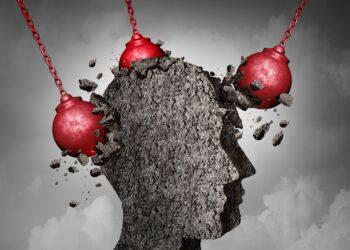 Eine grafische Darstellung eines Kopfes, der von Abrissbirnen demoliert wird.