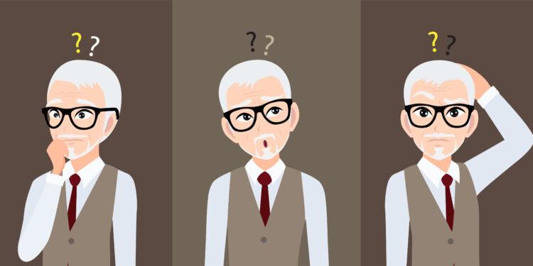 Grafische Darstellung eines nachdenkenden älteren Mannes.