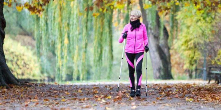 Eine Frau betreibt Nordic Walking in einer herbstlichen Landschaft.
