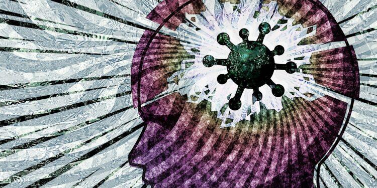 Eine künstlerische Darstellung eines Kopfes, in dessen Gehirn sich ein Virus befindet.