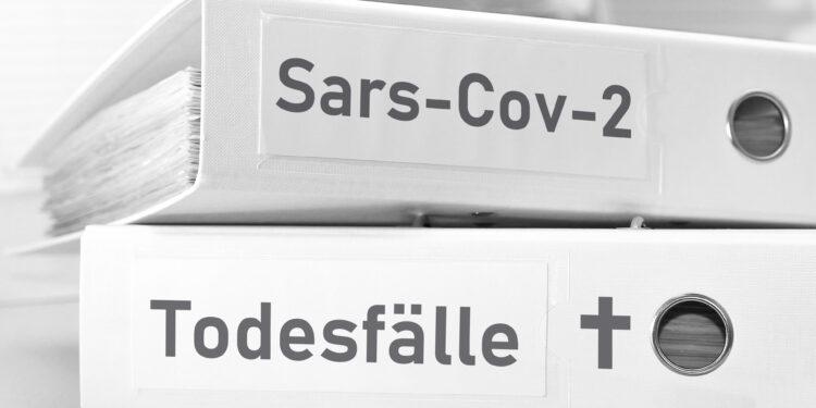 Zwei Ordner mit den Aufschriften Sars-Cov-2 sowie Todesfälle
