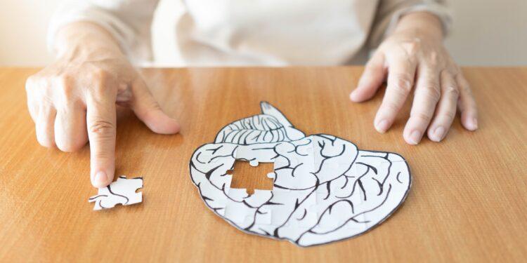 Seniorin mit einem Gehirn-Puzzle bei dem das letzte Puzzlestück noch fehlt.