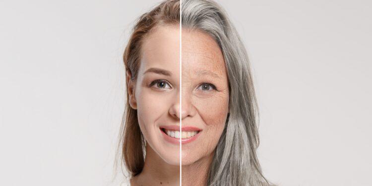 Ein Vergleichsbild einer Frau im jungen und fortgeschrittenen Alter.