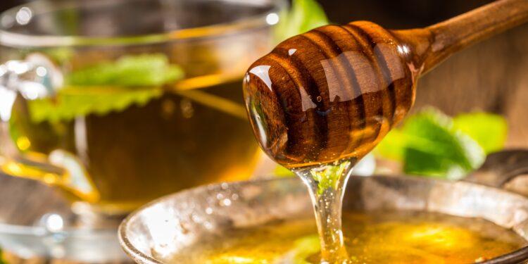 Honig und Honigschöpflöffel auf rustikalem Eichentisch und heißer Kräutertee im Hintergrund