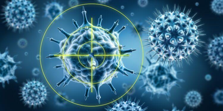 Eine grafische Darstellung von Viren, die über ein Fadenkreuz anvisiert werden.