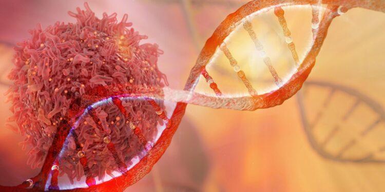 Grafische Darstellung eines DNA-Stranges und einer Krebszelle.