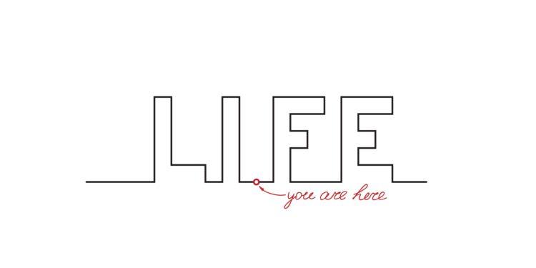"""Schriftzug """"Life"""" mit einem Punkt in der Mitte zwischen dem I und dem F"""