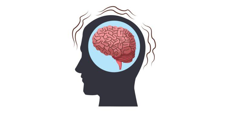 Silhouette eines Kopfes mit eingezeichnetem Gehirn.