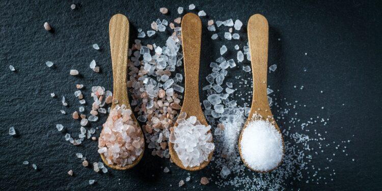 Dei Holzlöffel mit Himalaya-Salz, Meersalz und koscherem Salz.