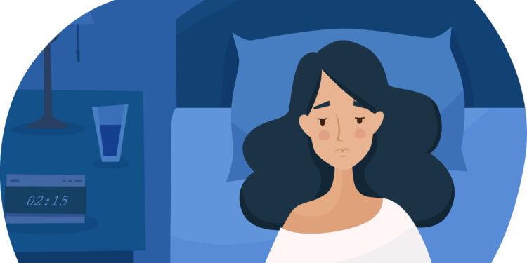Comichafte Darstellung einer Frau, die mitten in der Nacht wach im Bett liegt.