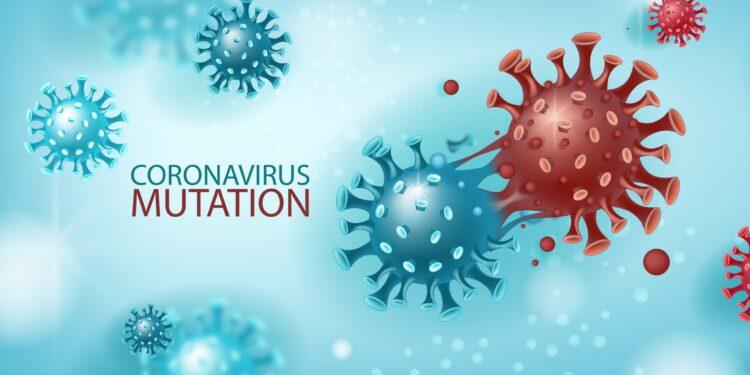 """Eine Grafik mit Coronaviren und dem Schriftzug: """"Coronavirus Mutation""""."""