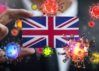 Britische Flagge umkreist von Coronaviren.