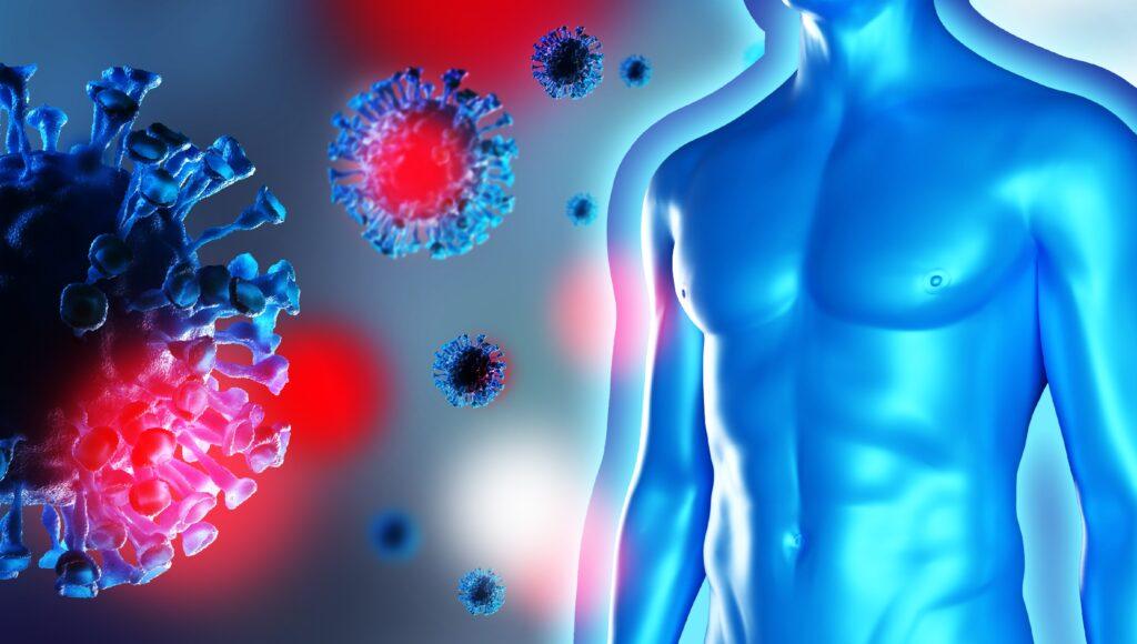 Grafische Darstellung eines männlichen Oberkörpers, der von schwebenden Viren umgeben ist.