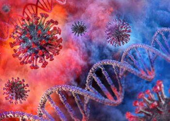 Grafische Darstellung von Coronaviren und einem DNA-Strang.