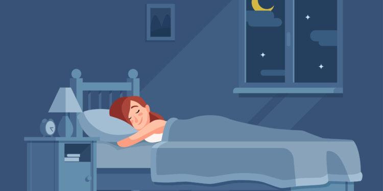 Rappresentazione comica di una donna addormentata.