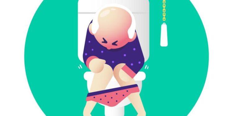 Eine Comichafte Darstellung einer Person, die auf der Toilette sitzt.