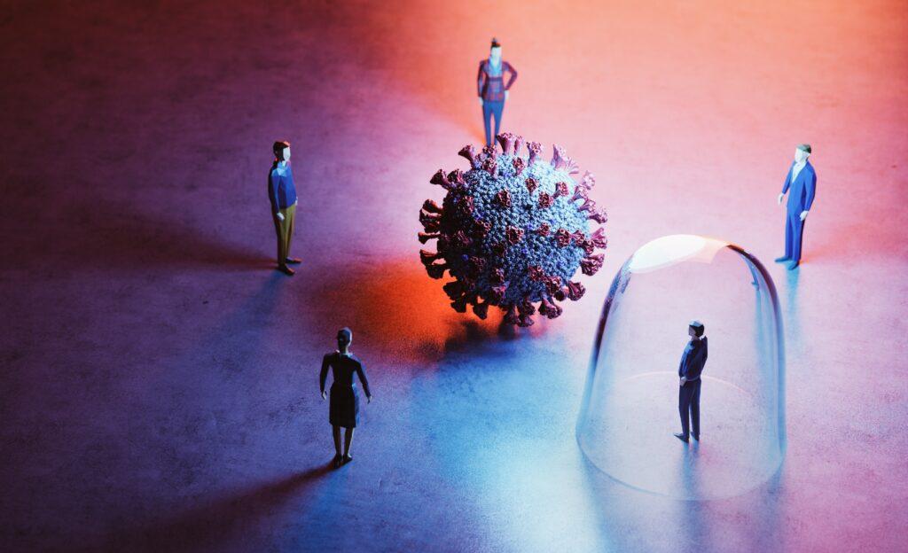 Eine grafische Darstellung von fünf Personen, die um ein übergroßes Coronavirus gruppiert sind.