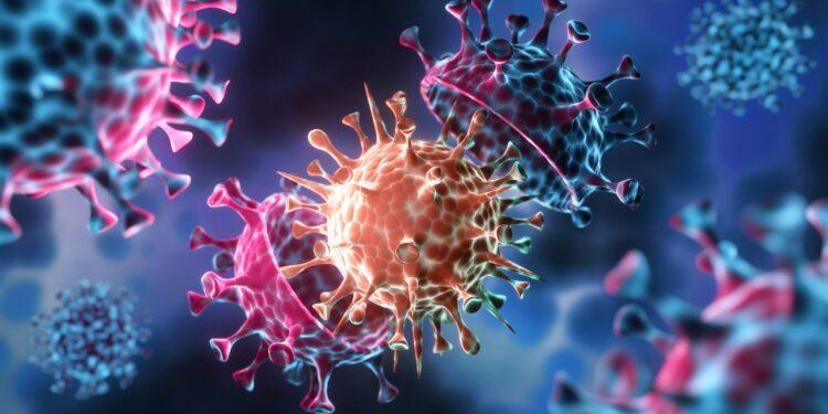 Visualisierung einer Coronavirus-Mutation.