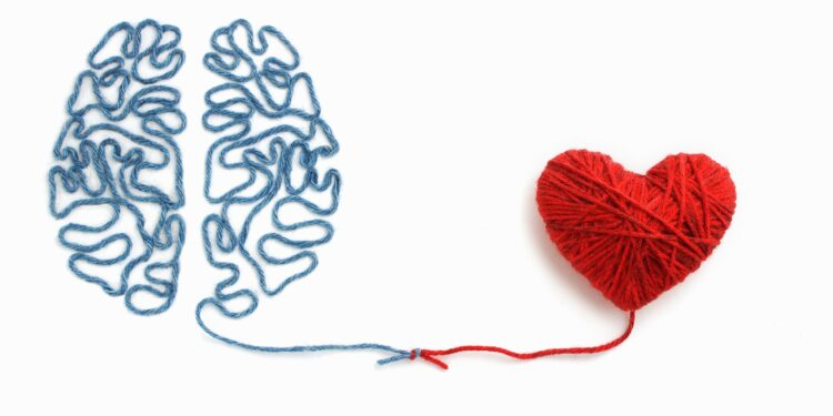 Brain and heart made of wool tied in a knot.