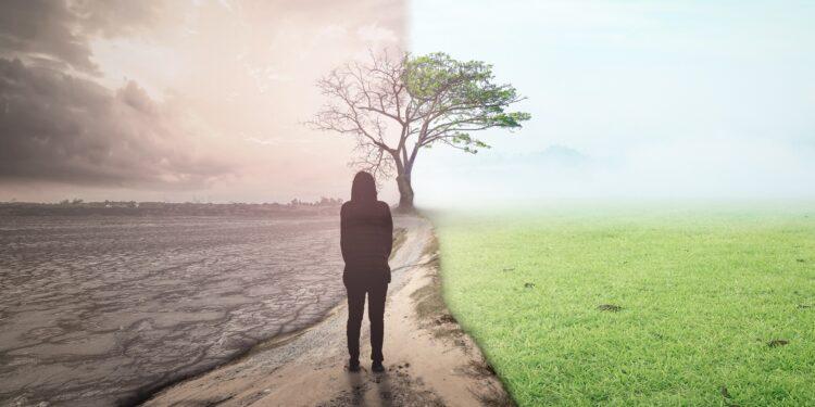 Frau auf einem Weg mit links zerstörter Natur und rechts grüner Landschaft.
