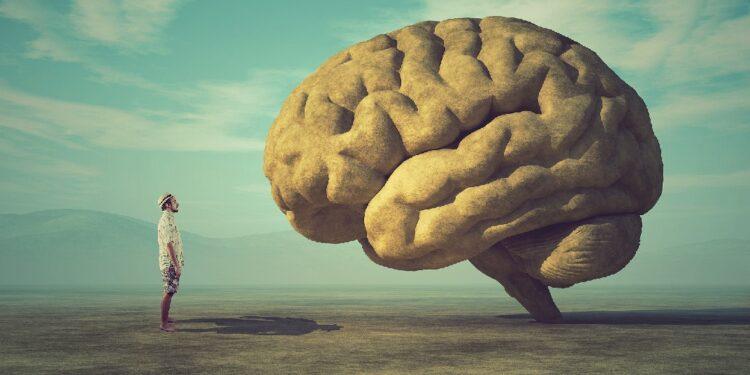 Gemälde mit kleinem Mann, der vor einem riesigen Gehirn steht.